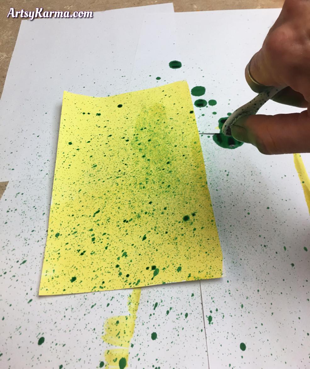 Liquid watercolors toothbrush spattering diy