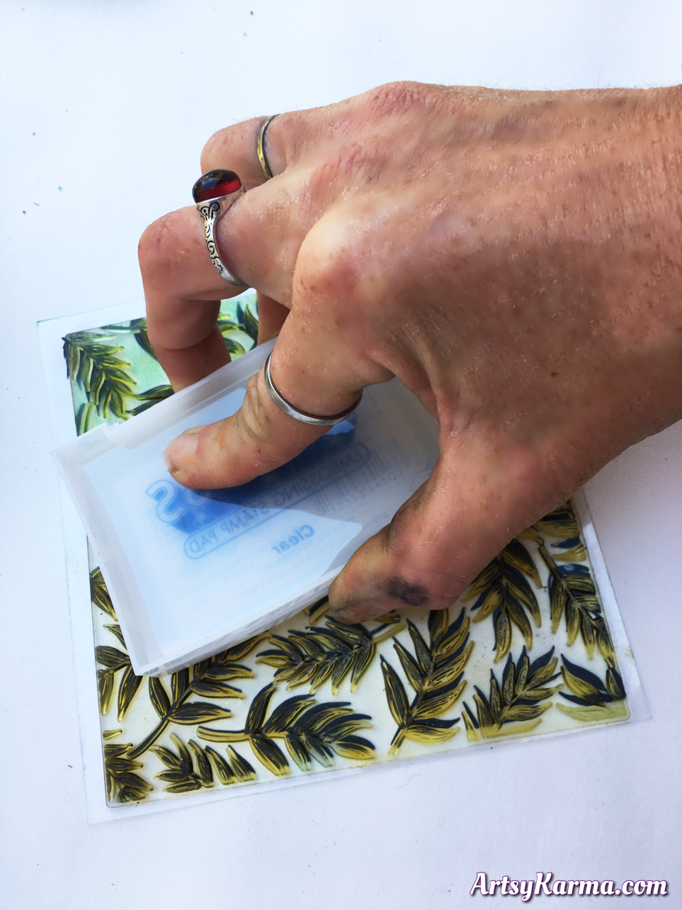 Use embossing ink and embossing powder for mixed media craft project