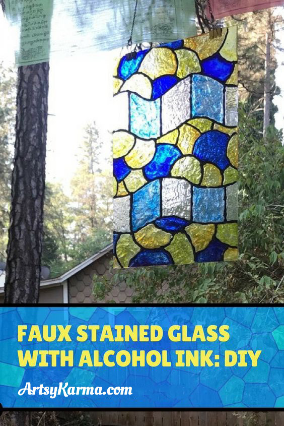 faux stained glass with alcohol ink