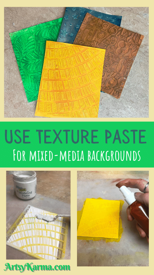 Backgrounds using texture paste for mixed media work