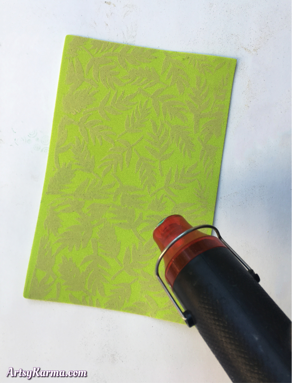Embossing craft foam with embossing powder