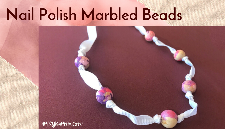 Nail polish marbled beads