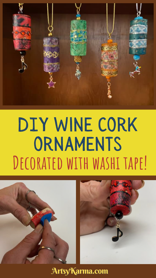 DIY wine cork ornaments decorated with Washington tape