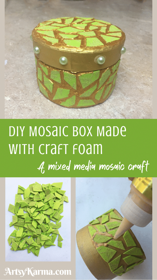 DIY mosaic box made with craft foam