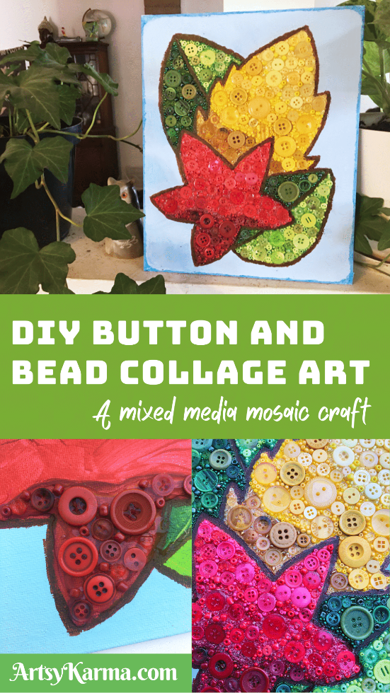 Button and bead art on canvas