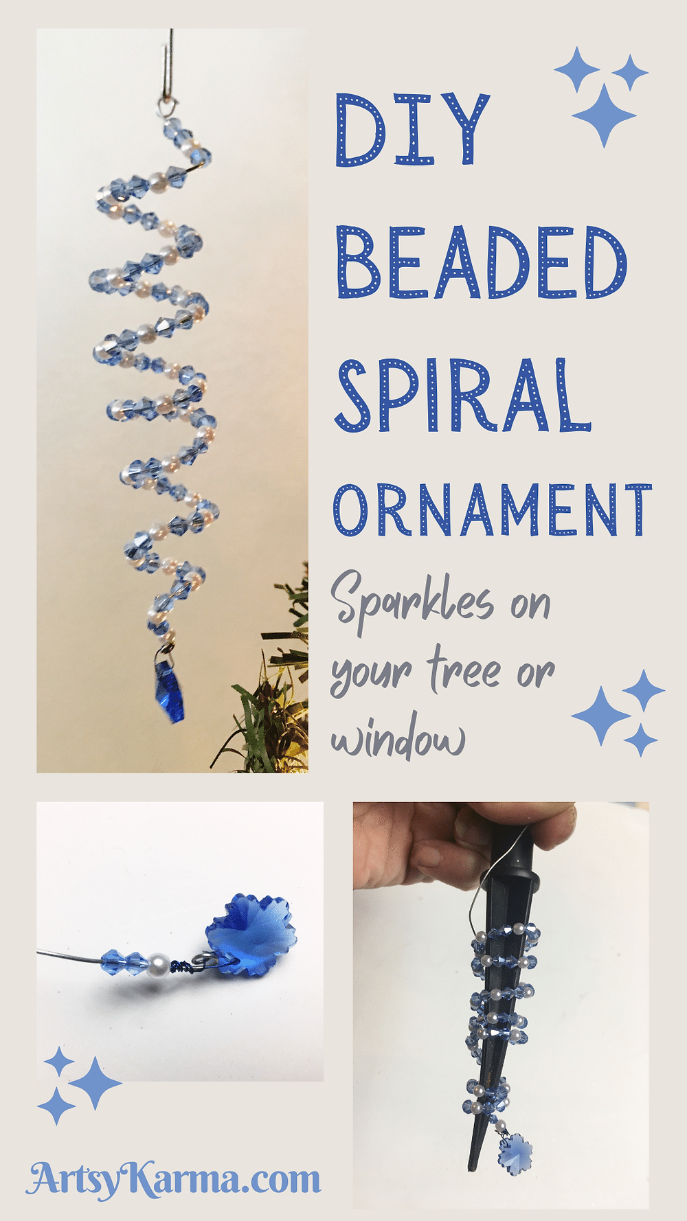 DIY Beaded Spiral Ornament that sparkles on your tree.