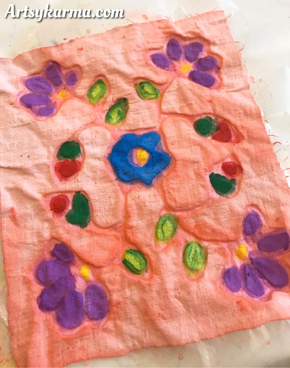 use paints over gel glue for batik flag