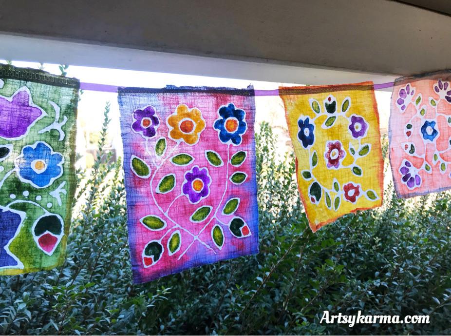 folk art flowers done in faux batik