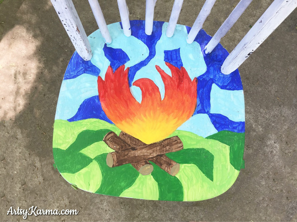 phoenix camp fire painting on chair