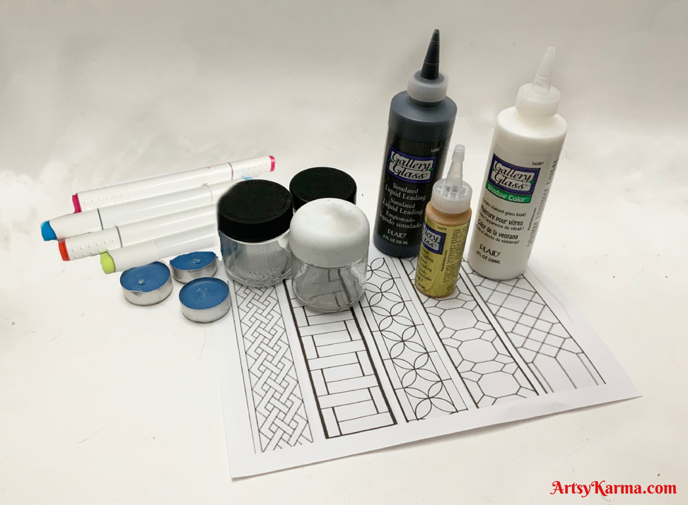 Supplies for stained glass jars diy