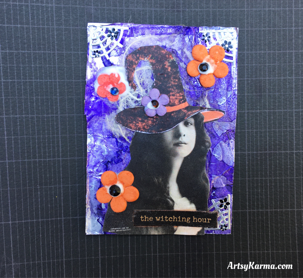 An artist trading card using a foil and ink background technique