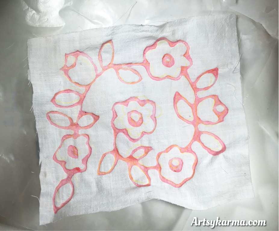 design in gel glue for faux batik