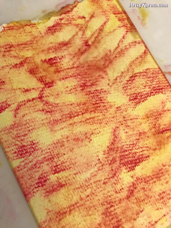 Chalk pastels over watercolor background technique