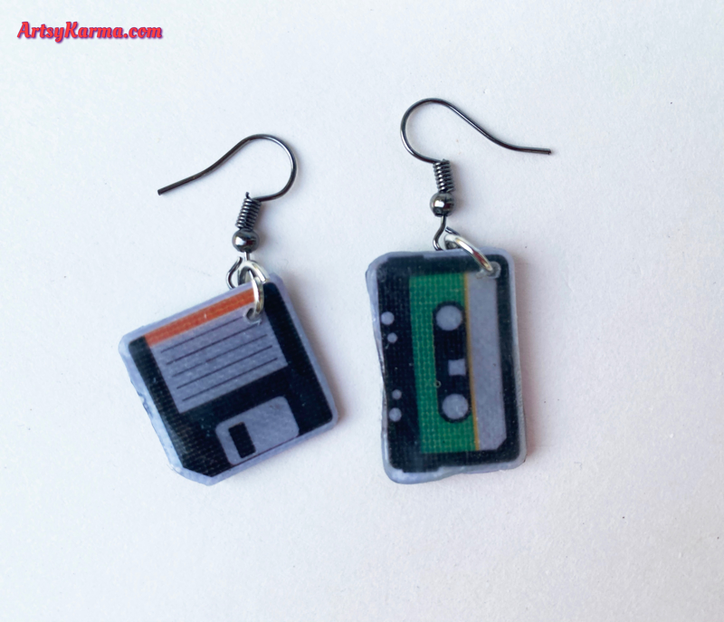 Use paper and stickers to make earrings.