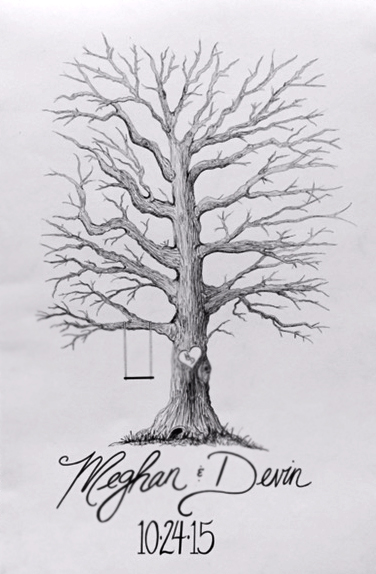 Rose Wedding Fingerprint Tree