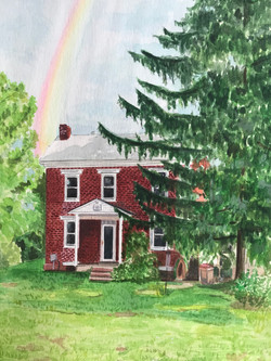 Country Colonial House Portrait