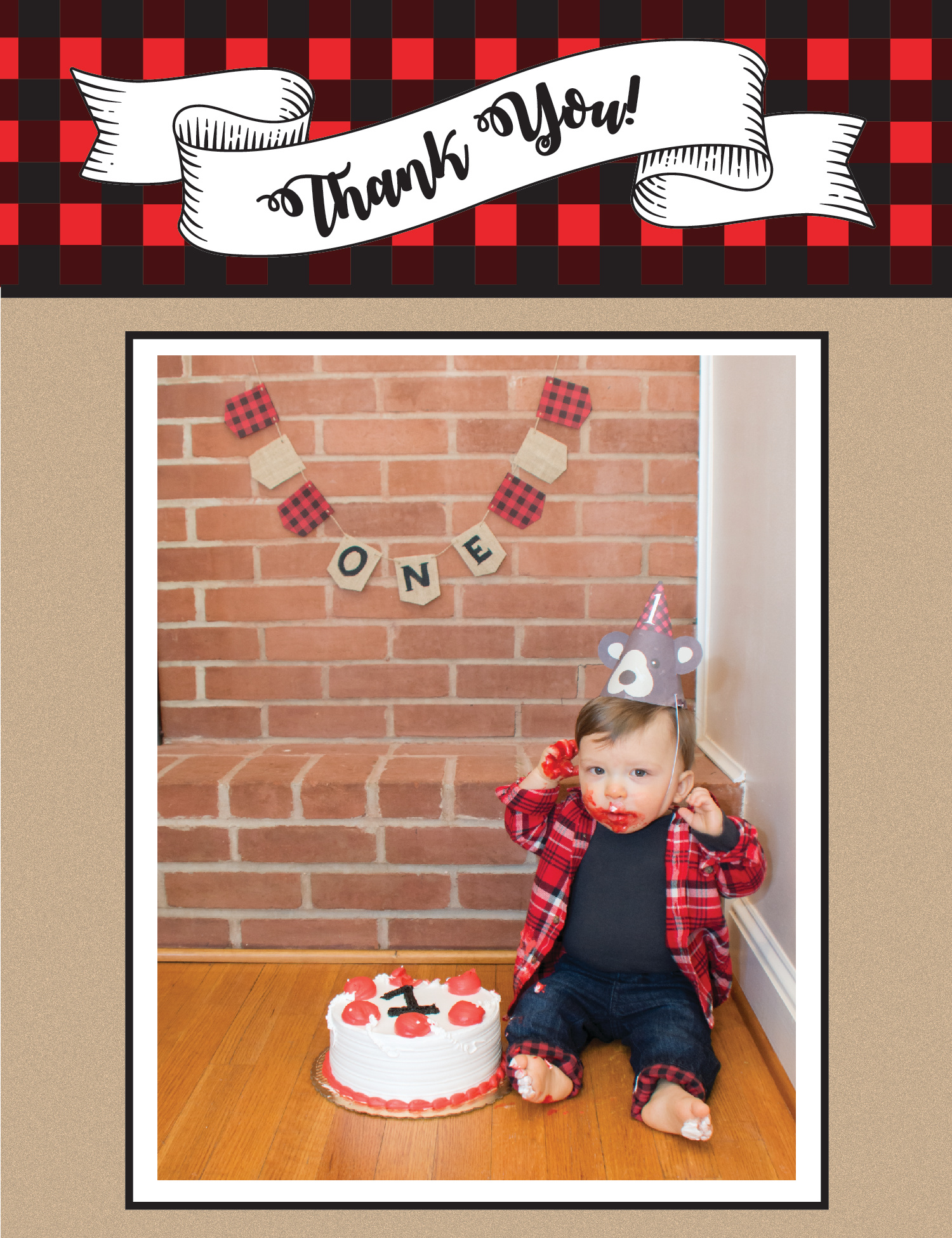 Lumberjack Thank You Card style 2