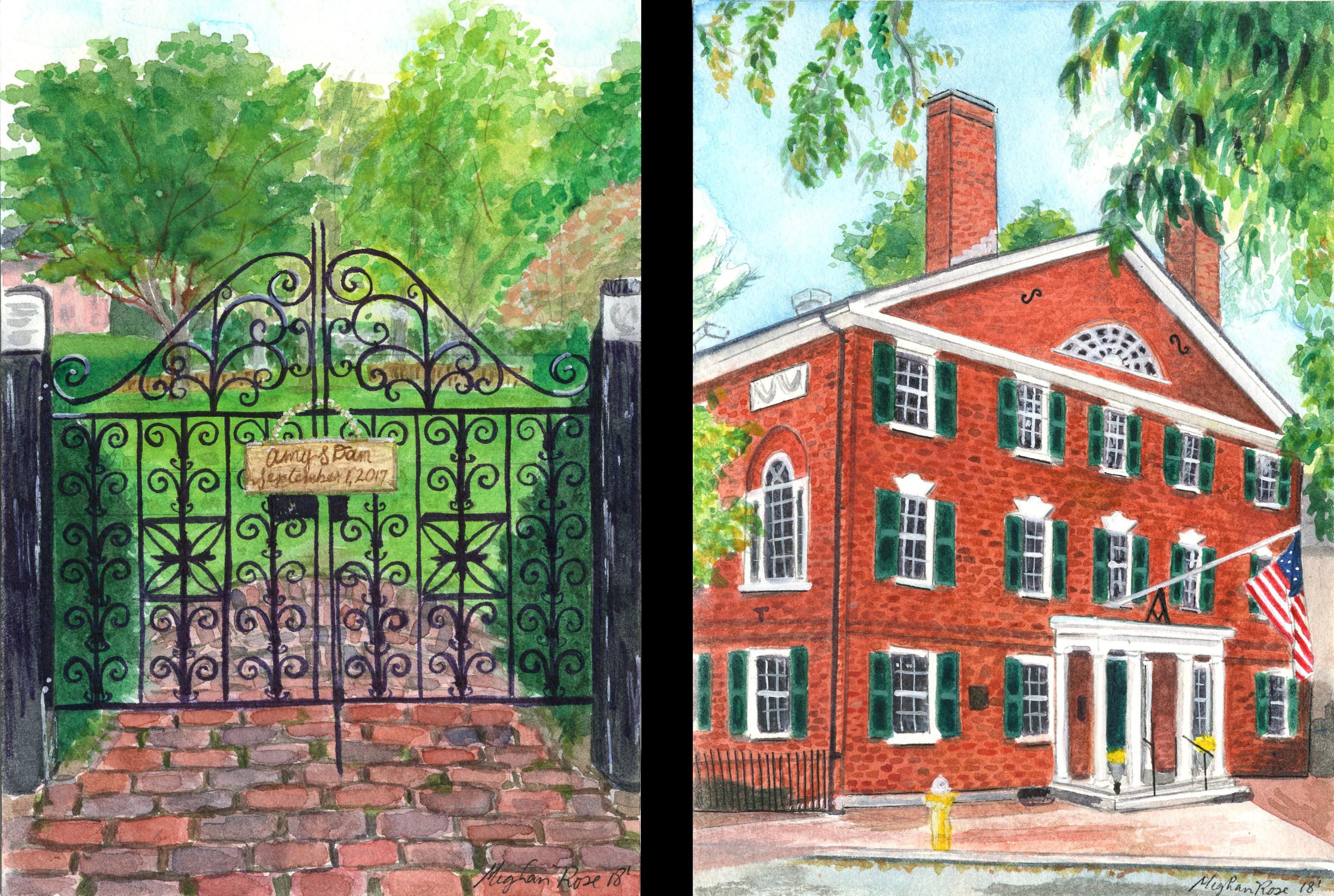 Hamilton Hall Salem, MA WC Diptych