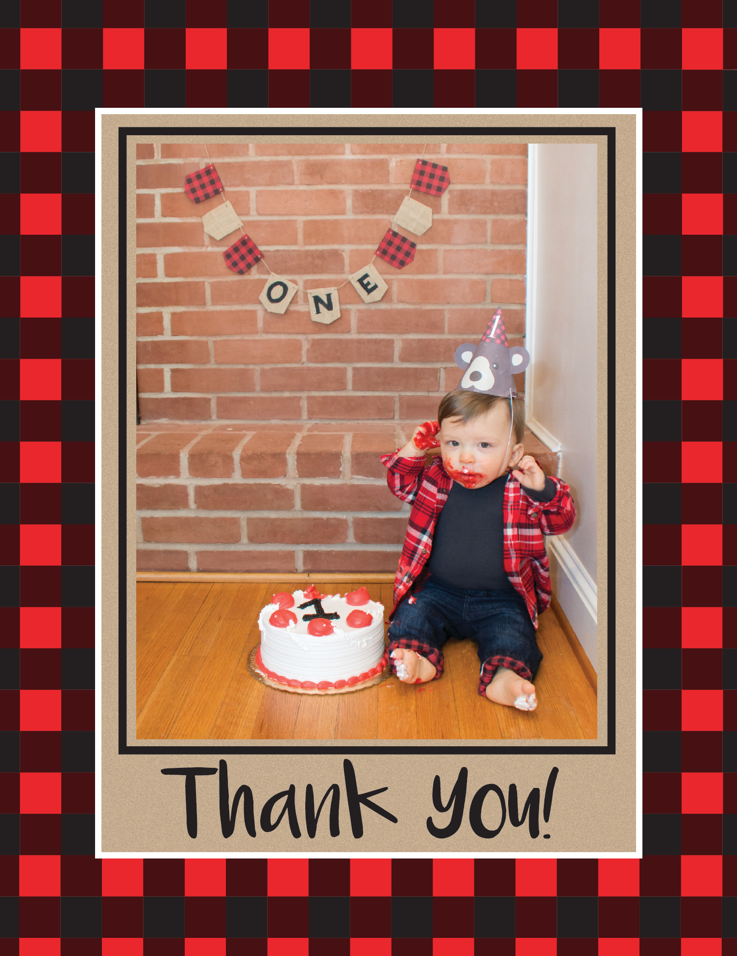Lumberjack Thank You Card style 1