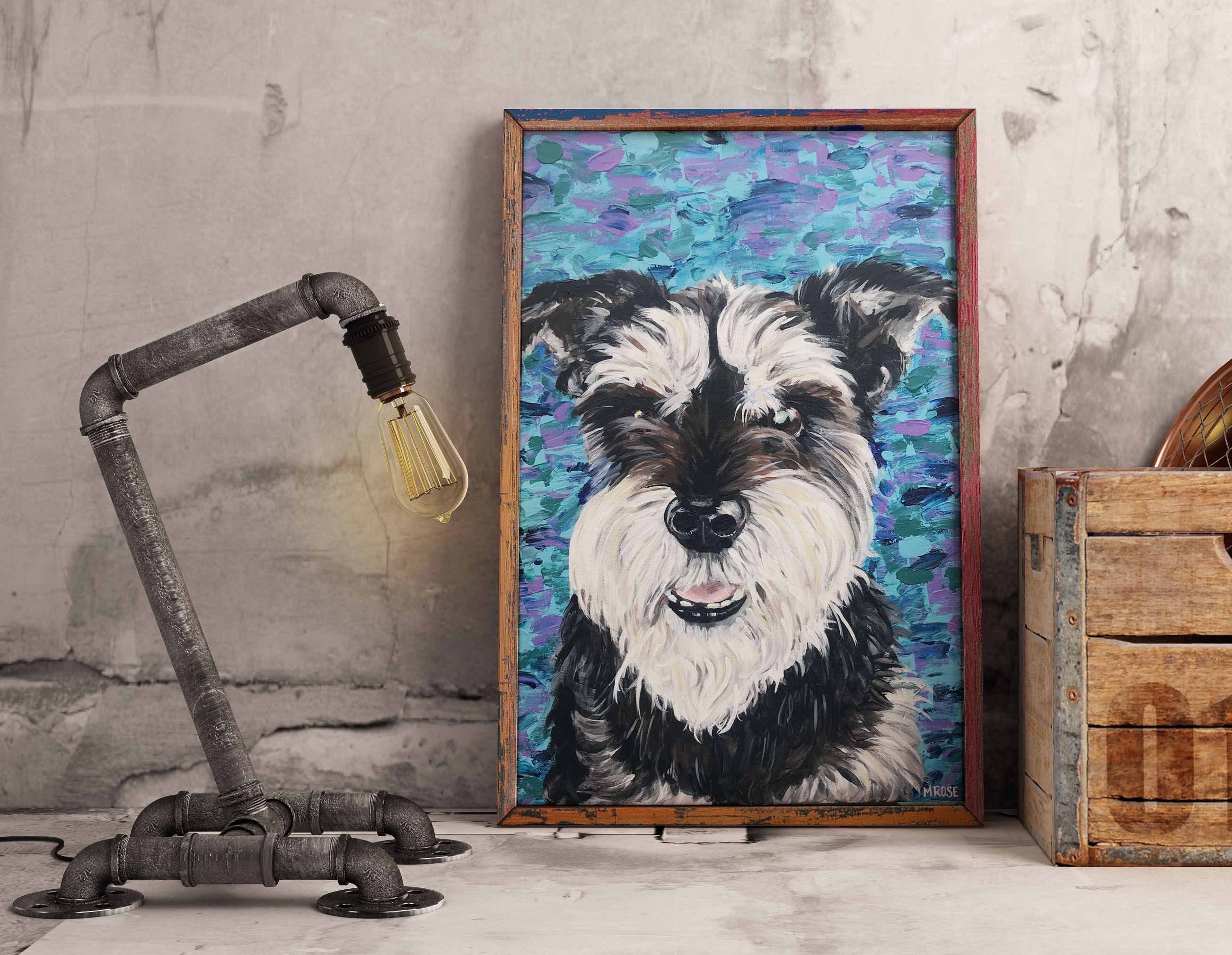 Yorkie Pet Portrait Acrylic on canvas