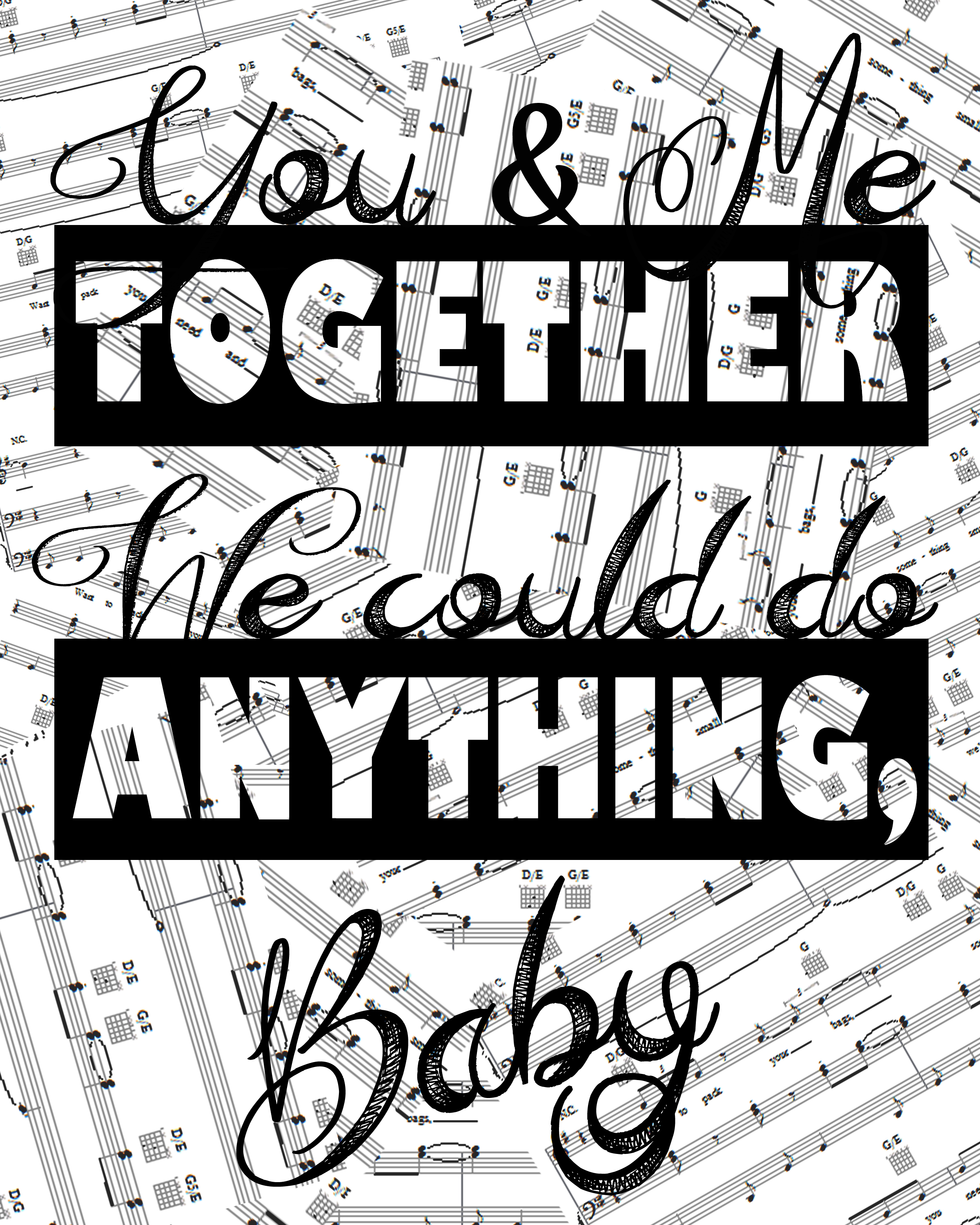 You&Me Sheet Music Typography