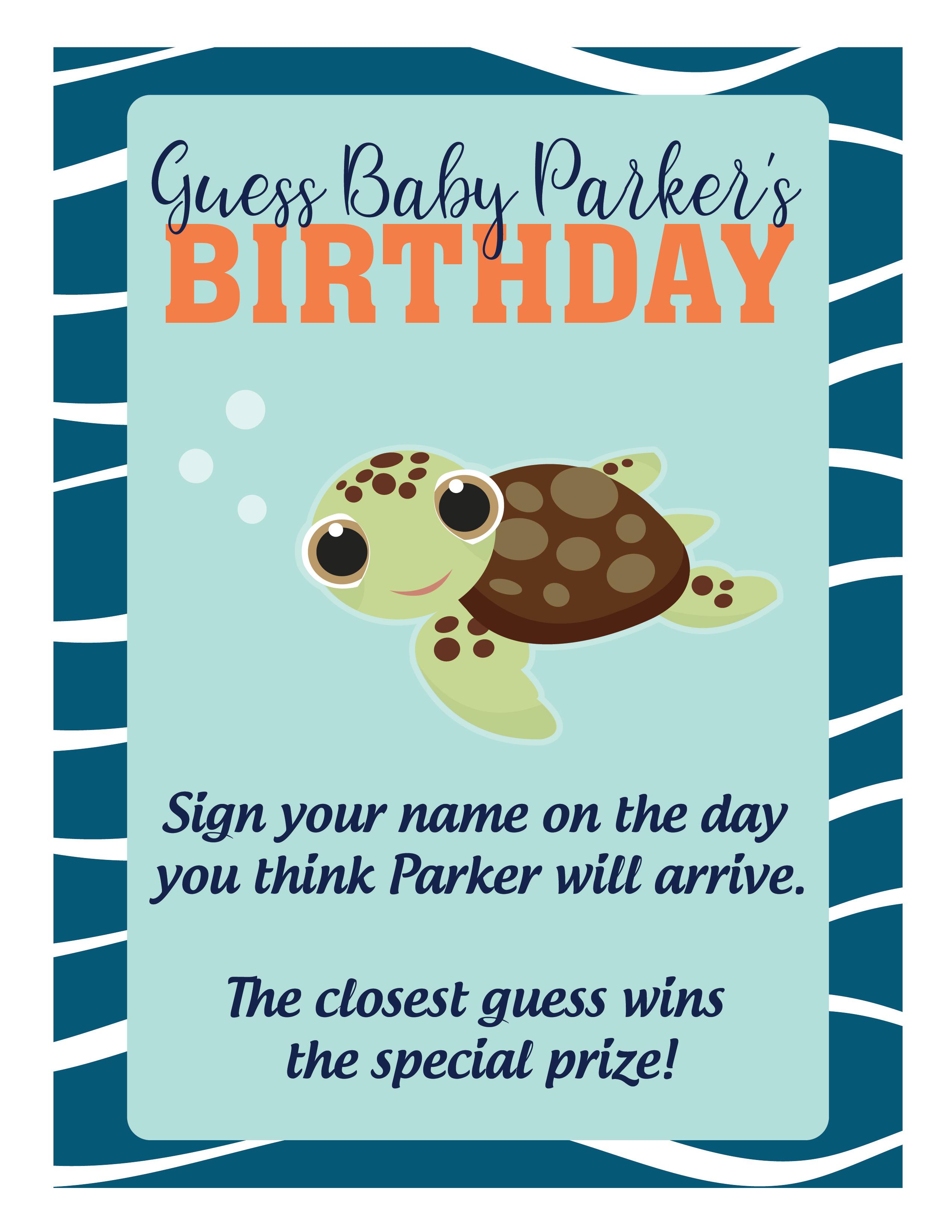 Baby Shower_Calendar Sign 2018