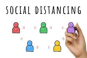 Social distancing doodle sign hand writt