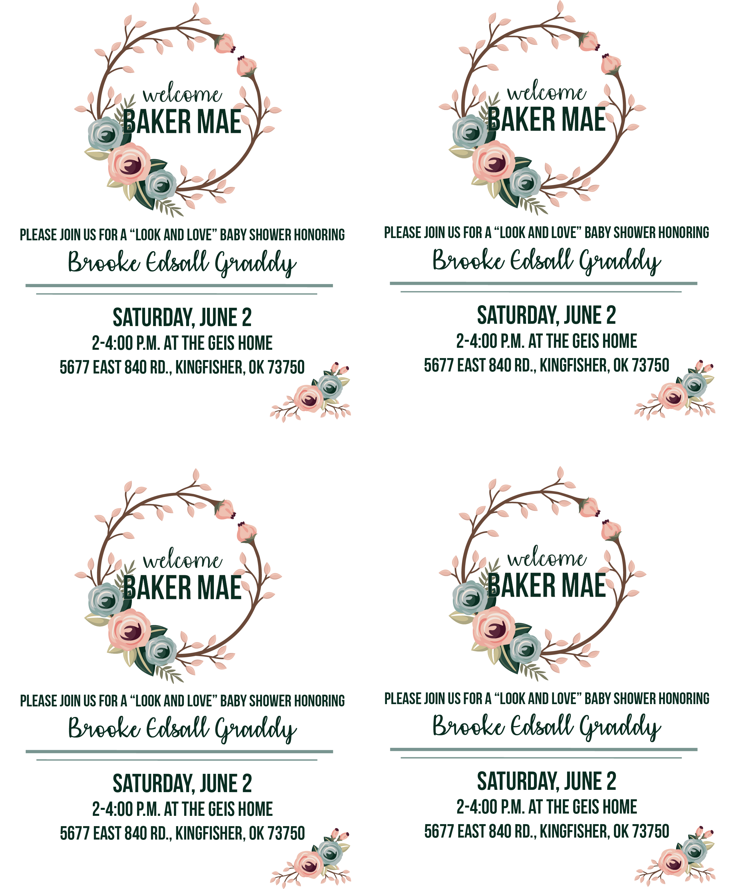 Baker Mae Shower Invite