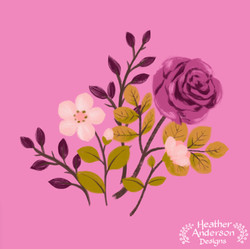 Heather Anderson Pink Rose Floral