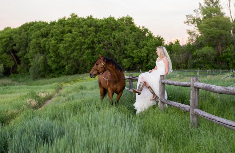 Spring Bridals- cowboy boots and a horse