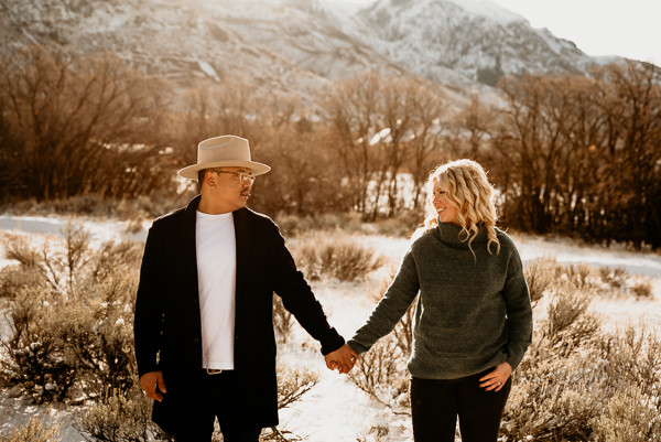 Love, holding hands, golden hour, winter couple photos