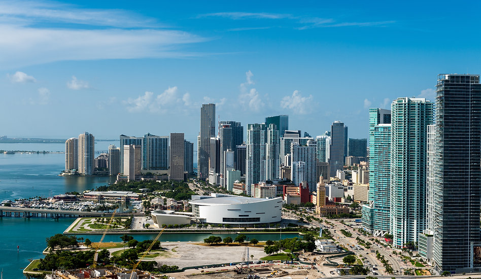 Aerial view of downtown Miami. All logos