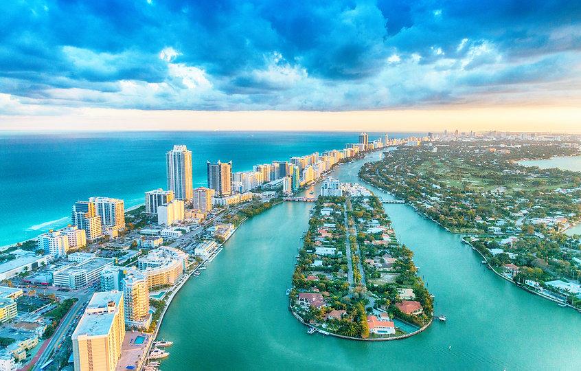 Miami Beach, wonderful aerial view of bu