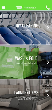 Home Screen of Hamperapp Laundry Services