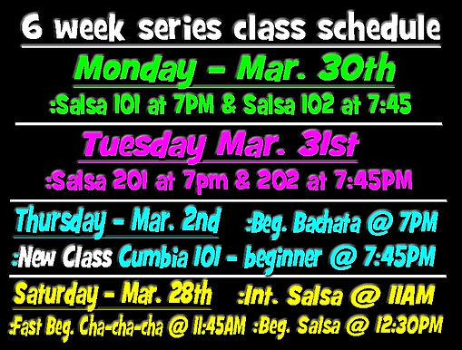 6 week series class schedule March 2020