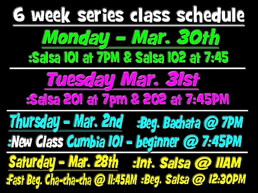 6 week series class schedule March 2020