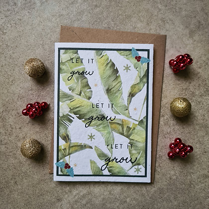 "Plantable Collection ""Let It Grow"" Christmas Card - No Waste Eco-friendly Card"