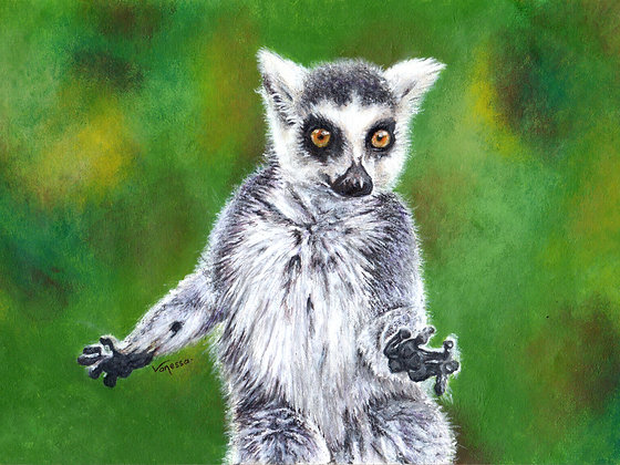 Original Framed Painting Ring-Tailed Lemur