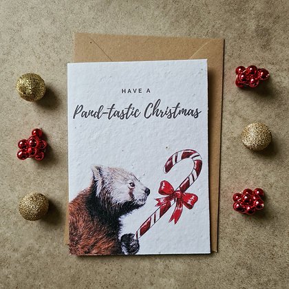 Plantable Collection Red Panda Christmas Card - No Waste Eco-friendly