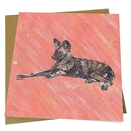 Painted Dog Blank Greetings Card - Supports Conservation Charity
