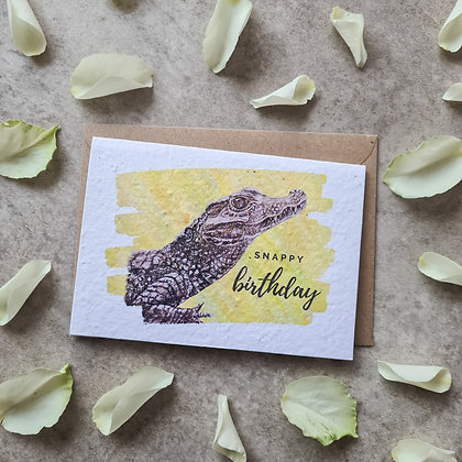 """Plantable Collection Caiman """"Snappy Birthday"""" Card No Waste Eco-friendly"""