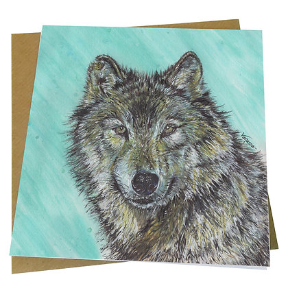 Timber Wolf Blank Greetings Card Front - Supports Conservation Charity