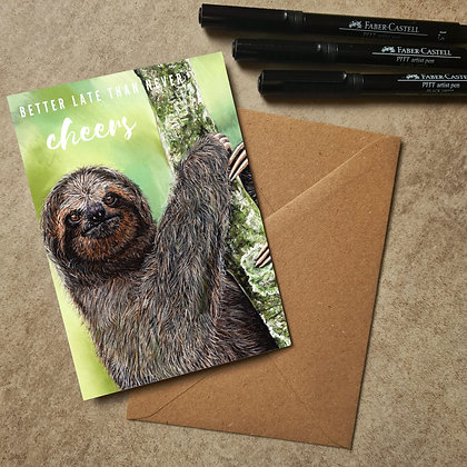 Sloth Blank Greetings Late Card - Supports Conservation Charity