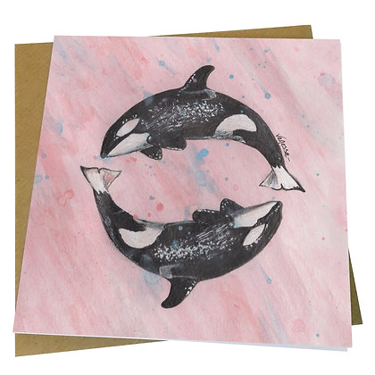 Orca Killer Whale Blank Greetings Card - Supports Conservation Charity