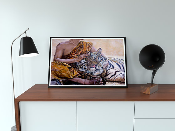 Tiger with Buddhist Monk Painting  A3 Lithographic Print