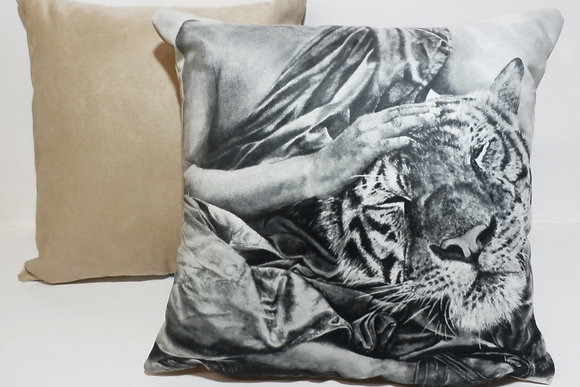 Tiger with Buddhist Monk Painting in Black & White on Faux Suede Cushions
