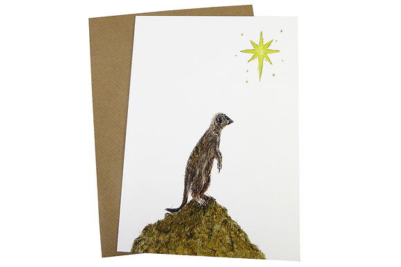 Meerkat with Shining Star - Luxury 350gsm Christmas Card
