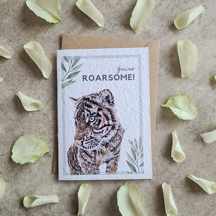 """Plantable Collection Tiger """"You're Roarsome!"""" Card - No Waste Eco-friendly"""
