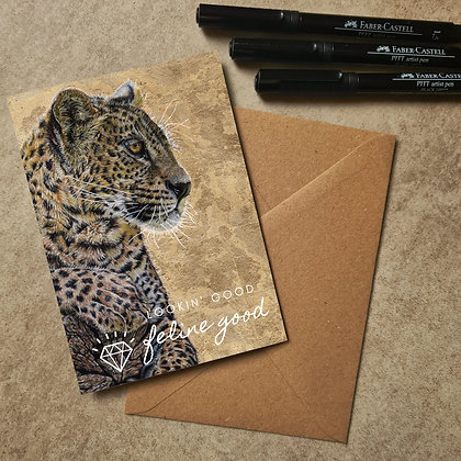 Leopard Blank Greetings Feline Good Card - Supports Conservation Charity