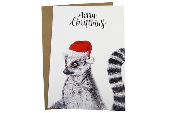 Ring-Tailed Lemur with Santa Hat - Luxury 350gsm Christmas Card